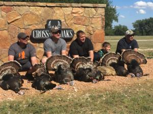 Great Turkey hunt this year. Awesome group of guys with some great Gobblers. Jeremy Guillory got 2, Jeremy M. 1, Bobby Guillory 2, and Jesse Silva 1. All of them with a bow! Easton Silva also got his first Trophy, an awesome gobbler!