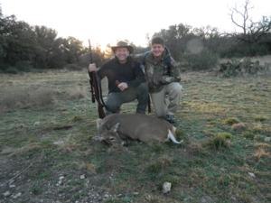 Frank with his 3rd Whitetail Doe of the trip. With his son Ber.