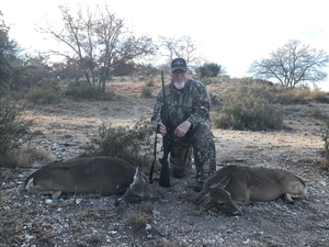 Randy Wimberley made a great shot on his first 2 Whitetail Does.