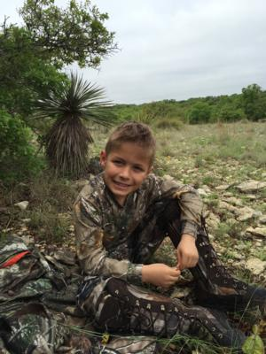 <p>Easton Helping his Dad Turkey Hunt.</p>